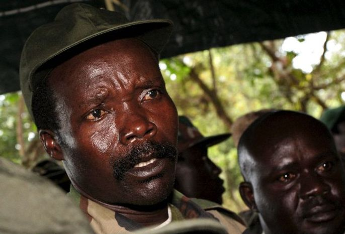 Joseph Kony, leader of the Lord's Resistance Army, answers journalists' questions Nov. 12 at Ri-Kwamba in Southern Sudan following a meeting with U.N. humanitarian chief Jan Egeland.