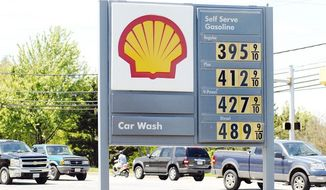 ** FILE ** A Shell gas station shows prices at more than $4 a gallon on May 23, 2008, in Annapolis. (Mary F. Calvert/The Washington Times )