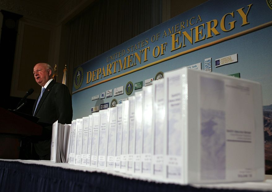 """ASSOCIATED PRESS Energy Secretary Samuel W. Bodman speaks at the National Press Club Tuesday. It was """"a big day"""" as the Bush administration submitted a formal application with the Nuclear Regulatory Commission for a license to build a waste dump at Yucca Mountain, Nev., Mr. Bodman said."""