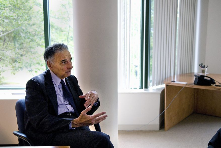 BACK FOR ROUND 3:  Third-party candidate Ralph Nader talks Monday about his 2008 campaign at his Georgetown office. (John Tully/The Washington Times)