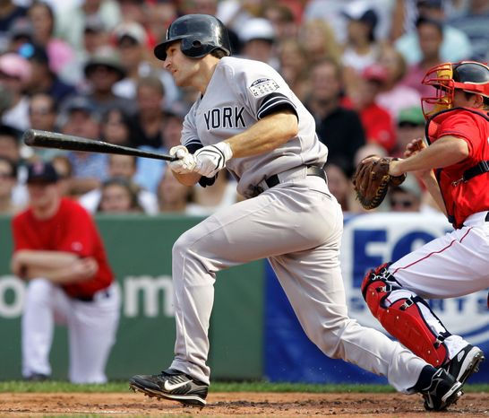 ** FILE ** Xavier Nady is shown playing with the New York Yankees in 2008. (Associated Press)