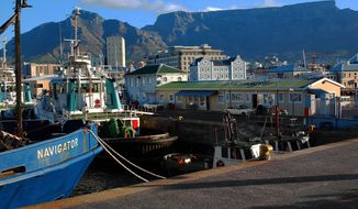 Views of Table Mountain from the Waterfront in Cape Town, South Africa