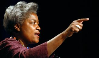 Super delegate Donna Brazile from Washington, D.C., addresses the Women's Caucus.