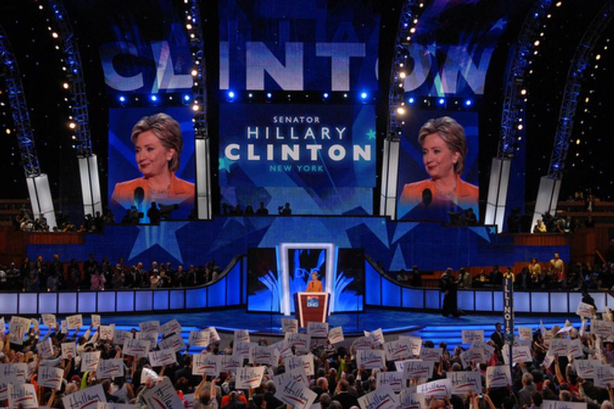 Senator Hillary Clinton, D-NY, addresses the Democratic National Convention.