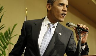 Democratic presidential candidate, Sen. Barack Obama, D-Ill., speaks after making a surprise visit to the Illinois women's delegation luncheon in Denver Thursday, Aug. 28, 2008. (AP Photo/Alex Brandon)