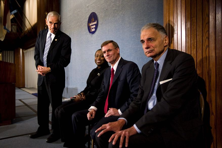 Third-party leaders (from left) Rep. Ron Paul of the Republican Party, Cynthia McKinney of the Green Party, Chuck Baldwin of the Constitution Party and Ralph Nader of the Green Party appear Wednesday at the National Press Club. (Associated Press)