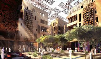 "The National Building Museum's upcoming ""Green Community"" exhibit will feature resource-conserving architecture around the world. Masdar City in Abu Dhabi, for example, is being developed with water courses, covered markets and narrow streets to adapt to its harsh desert environment."