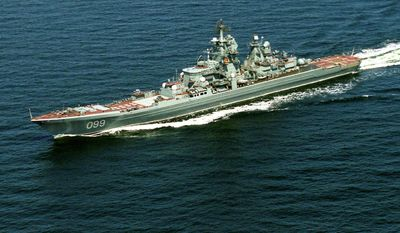 ** FILE ** The Pyotr Velikiy, Peter the Great, Russian nuclear-powered missile cruiser seen in the Barents Sea, Russia, Russia, in this July, 2004, file photo. The Peter the Great cruiser accompanied by three other ships of Russia's Northern Fleet was to sail from their base in Severomorsk Sunday on a cruise which will include a joint exercise with the Venezuelan Navy, Russian Navy spokesman Igor Dygalo said on Vesti 24 television. (AP Photo/File)