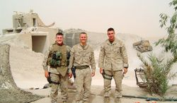 Duncan D. Hunter (right) served his second tour in Iraq near Fallujah in 2004. He retired as a captain from the Marine Corps Reserves and is running for his father's House seat. PHOTOGRAPH PROVIDED BY Duncan D. Hunter for Congress.