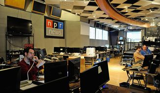 National Public Radio has transformed its Studio 4A into a war room for election night coverage. About 60 to 80 people will be answering phones, updating the Web site, NPR.org, and broadcasting live from about 7 p.m. to 3 a.m. on election night. (Barbara L. Salisbury/The Washington Times)