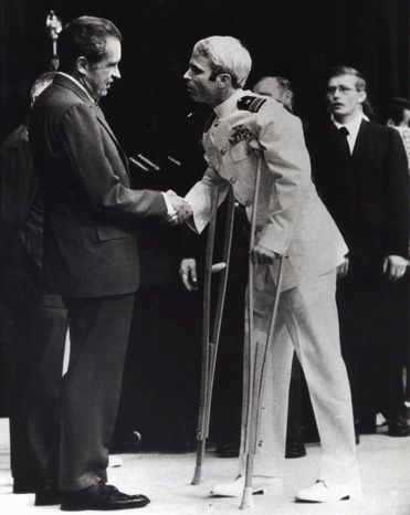 ASSOCIATED PRESS John McCain is greeted by President Nixon in Washington in September 1973, after Mr. McCain spent more than five years in a Vietnamese prisoner-of-war camp known as the &am