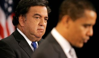 BLOOMBERG NEWS New Mexico Gov. and Commerce Secretary-nominee Bill Richardson listens to President-elect Barack Obama at a news conference in Chicago. The North American Free Trade Agreement, which both men have said they want to renegotiate, was not mentioned.