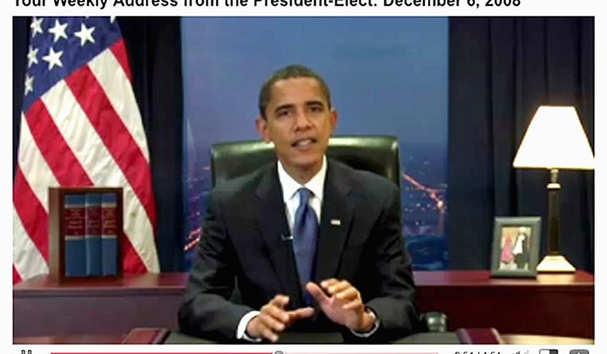 Then-President-elect Barack Obama used his YouTube videos as a tool to reach out to the American public. ** FILE **
