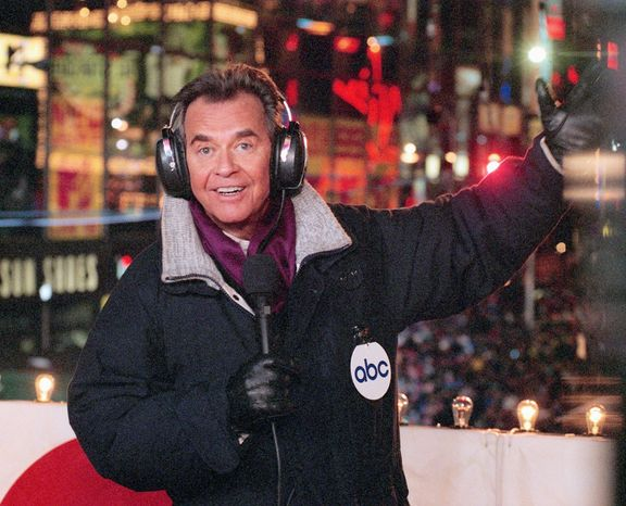 """** FILE ** Dick Clark brings in the New Year from New York's Times Square on """"New Year's Rockin' Eve"""" in this undated photo. (AP Photo/ABC, Donna Svennevik)"""