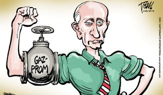 Putin gas muscle/Russian energy Gazprom Russian/Ukraine (CartoonArts International/The New York Times Syndicate/File)
