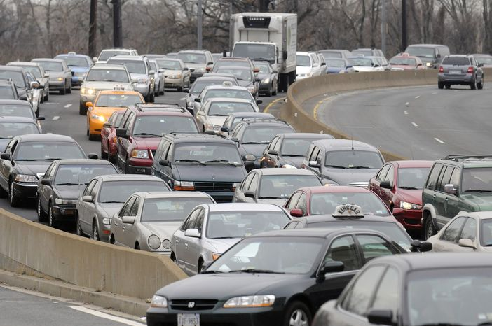 Traffic from Virginia into D.C. slowed along 14th Street during inauguration festivities in Washington, D.C., Sunday.