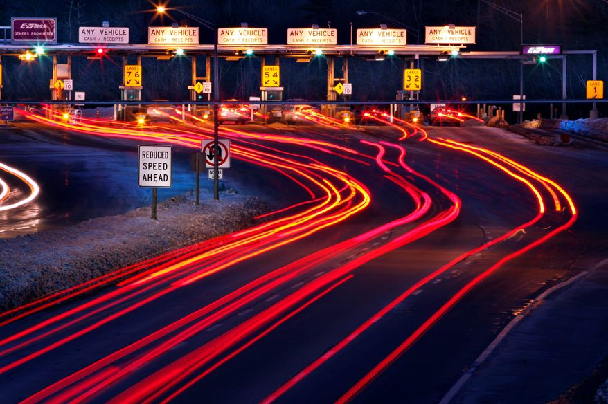 ASSOCIATED PRESS Traffic slows for the York tolls on the Maine Turnpike in York, Maine, on Saturday. Tolls went up this week for motorists using the turnpike, a year earlier than the Maine Turnpike Authority had anticipated.