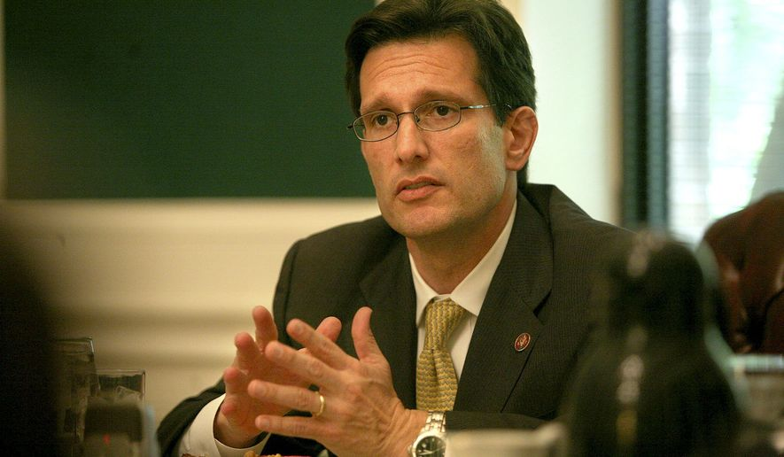 ** FILE ** Rep. Eric Cantor, Virginia Republican, is the House minority whip. (The Washington Times)