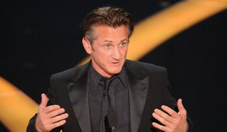 "Sean Penn accepts the Oscar for best actor for his work in ""Milk"" during the 81st Academy Awards Sunday.