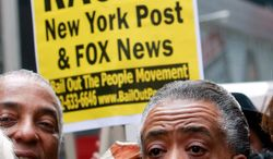 """In this file photo, the Rev. Al Sharpton, now the host of MSNBC's """"PoliticsNation"""" rallies with hundreds of demonstrators outside the New York Post headquarters in New York. (Getty Images)"""