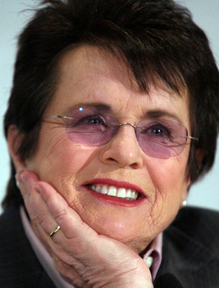 Tennis great Billie Jean King listens during a news conference in New York, Monday March 2, 2009. King will see sisters, Venus and Serena Williams, along with Jelena Jankovic and Ana Ivanovic face off tonight for the Billie Jean King Cup, a one-night single elimination event at Madison Square Garden, for $1.2 million in prize money. (Associated Press)