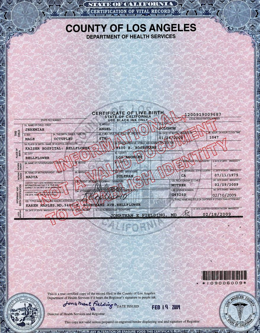 **FILE** This is a copy of a birth certificate, purchased from the County of Los Angeles' Department of Health Services. (Associated Press/County of Los Angeles' Department of Health Services)
