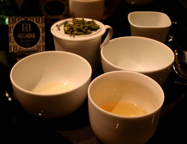 The soaked leaves of a green-leaning Oolong called Wild Goddess infuse a golden, slightly nutty tea.