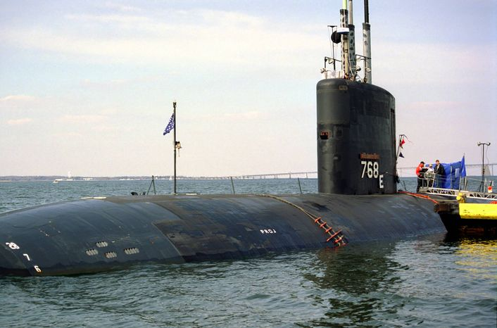 In this undated photo released by the U.S. Navy, the Port-side bow of the Los Angeles class nuclear-powered fast attack submarine USS Hartford (SSN 768)