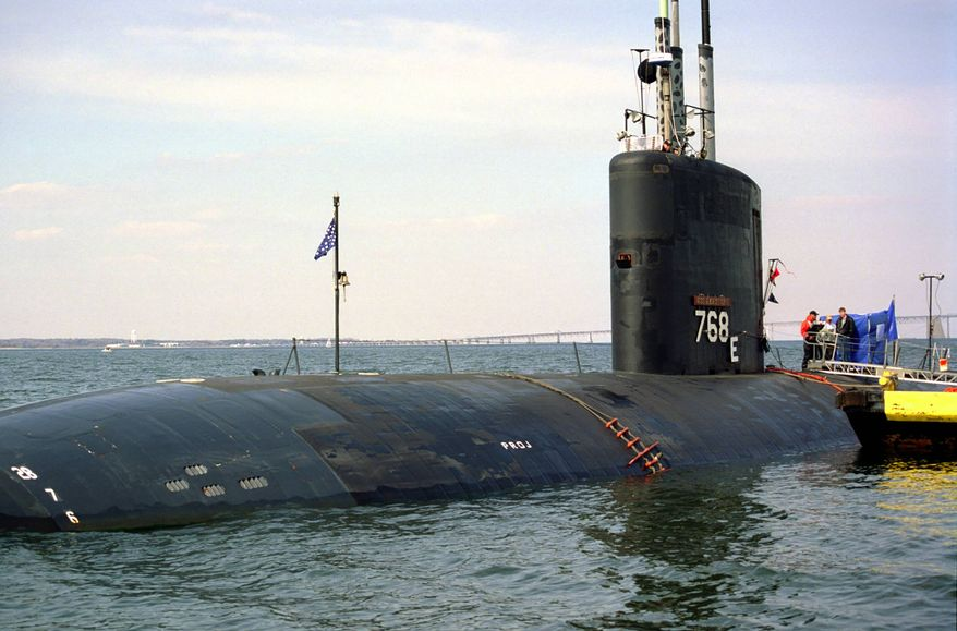 In this undated photo released by the U.S. Navy, the Port-side bow of the Los Angeles class nuclear-powered fast attack submarine USS Hartford (SSN 768) is seen anchored off the U.S. Naval Academy, in Annapolis, Md.