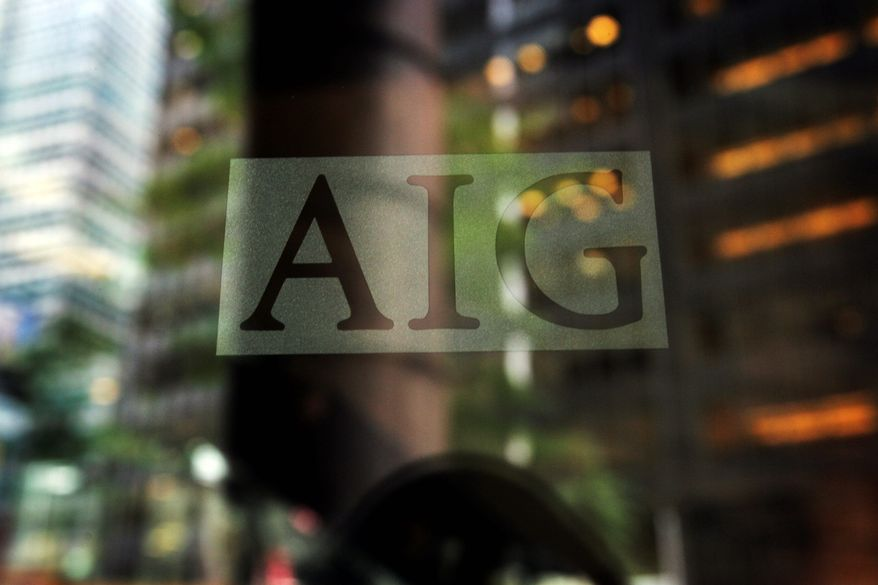 The American International Group logo is shown on Tuesday, Sept. 16, 2008, in New York. (AP Photo/Mark Lennihan)