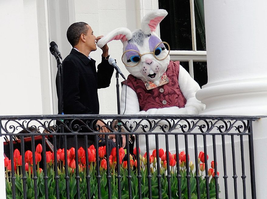 Mr. Obama jokes around with the Easter Bunny after the balcony microphone stopped working.