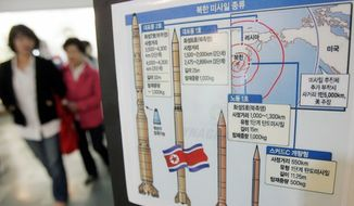 ASSOCIATED PRESS Illustrations of North Korean missiles are displayed at an observation post in Paju, South Korea, near the border village of Panmunjom. North Korea vowed Tuesday to restore nuclear facilities it has been disabling and boycott international talks on its atomic weapons program.