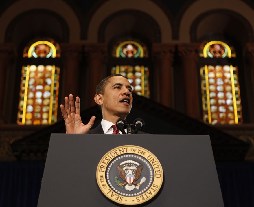 ** FILE ** President Barack Obama delivers remarks on the economy, Tuesday, April 14, 2009, at Georgetown University in Washington. (AP Photo/Gerald Herbert)