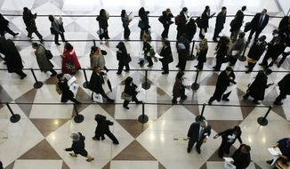 **FILE** A line of job applicants snakes through a ropeline to attend the CUNY Big Apple Job Fair Friday, March 20, 2009 in New York. The fair, for students and alumni of the City University of New York, attracts several thousand college-educated applicants. New jobless claims fell more than expected last week, but continuing claims set a new record for the eighth straight week and few economists expect the labor market to improve anytime soon. (AP Photo/Mark Lennihan)