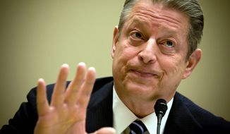 Former Vice President Al Gore testifies on climate change before the House Energy and Commerce Committee on Friday. He threw his support behind the pending climate-change-prevention bill. (ALLISON SHELLEY/THE WASHINGTON TIMES) ** FILE **