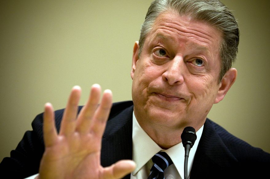 ALLISON SHELLEY/THE WASHINGTON TIMES SOMETHING TO SAY: Former Vice President Al Gore testifies on climate change before the House Energy and Commerce Committee on Friday. He threw his support behind the pending climate-change-prevention bill.