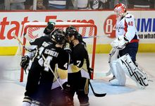 Peter Lockley / The Washington Times Washington's Simeon Varlamov gave up five goals on 28 shots as the Penguins rallied to tie their series with the Capitals at two games apiece.