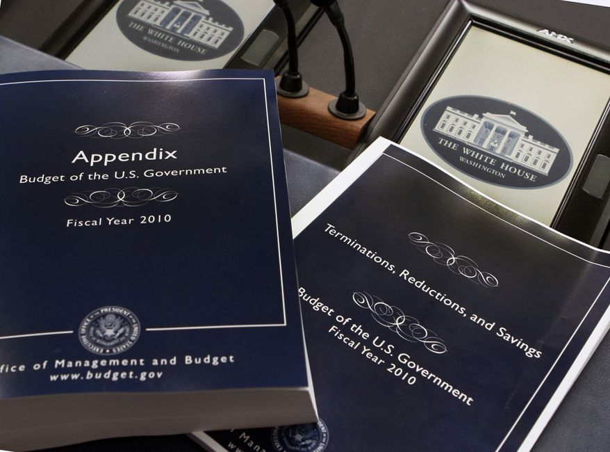 ** FILE ** Copies of President Obama's fiscal 2010 federal budget are seen at the White House in Washington on Thursday, May 7, 2009.