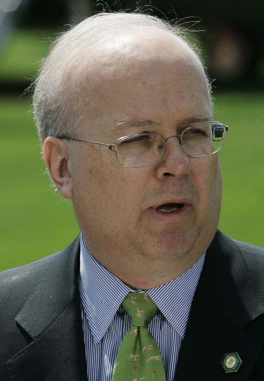 **FILE** -- In this Aug. 13, 2007 file photo, then outgoing Deputy White House Chief of Staff Karl Rove talks about his resignation during a news conference on the South Lawn of the White House in Washington. (AP Photo/Haraz N. Ghanbari, File)