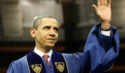 President Barack Obama waved May 17 as he arrived to deliver the commencement speech during the 2009 graduation ceremony at the University of Notre Dame in South Bend, Ind. This Friday, he will address graduates of the Naval Academy. (Associated Press)