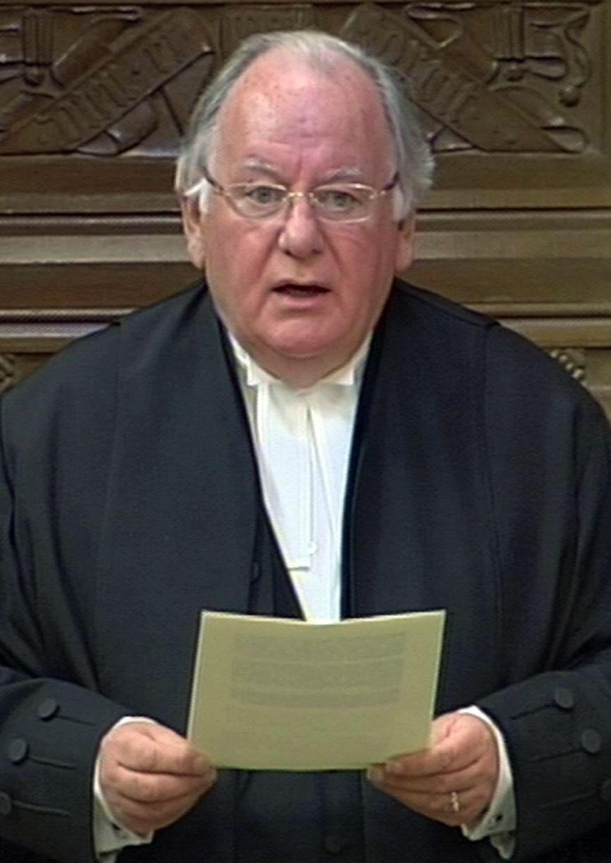 """Speaker of the House of Commons Michael Martin reads a statement to the House of Commons in London in this image taken from TV Monday May 18, 2009. Martin said Monday he was """"profoundly sorry"""" for the handling of Members of Parliament expenses, saying the public had been let down """"very badly indeed. (AP Photo/PA"""