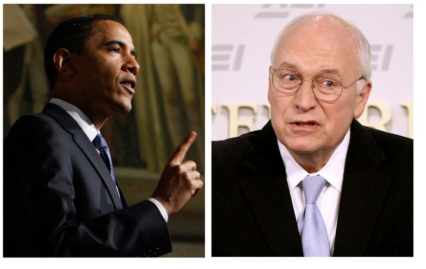 In May 21, 2009 file photos President Barack Obama, left, delivers an address on national security, terrorism, and the closing of Guantanamo Bay prison, Thursday, May 21, 2009, at the National Archives in Washington. Former Vice President Dick Cheney speaks at the American Enterprise Institute in Washington, Thursday, May 21, 2009. The speeches conveying two radically different views of America's fight against terrorism and the nation's values unfolded in separate halls, minutes apart. (AP Photo)