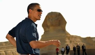 President Obama touring the Great Pyramids of Giza after his speech in Cairo to the Muslim world on June 4, 2009. AGENCE FRANCE-PRESSE/GETTY IMAGES