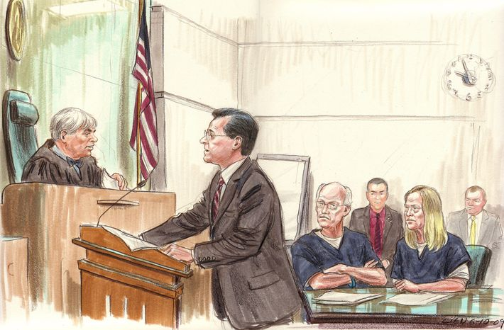 In this file courtroom drawing from 2009, Assistant US Attorney Gordon Michael Harvey (c) argues against the release of Kendall and Gwendolyn Myers (R seated) at a detention hearing before Judge John Facciola (L). Walter Kendall Myers and his wife, Gwendolyn Steingraber Myers, were later charged with conspiracy to hand over classified information to Cuba, serving as an illegal agent for a foreign government and wire fraud.   (ILLUSTRATION BY ART LIEN/AFP/Getty Images)