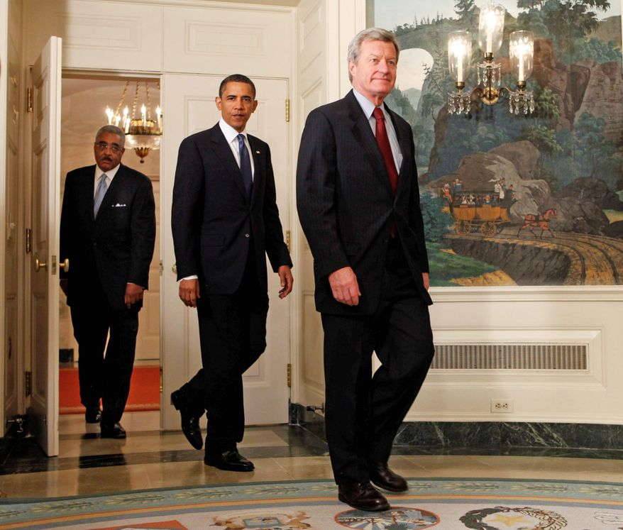 """**FILE** President Obama, with AARP CEO Barry Rand (left) and Sen. Max Baucus, Montana Democrat, announced a plan in late June 2009 that would help seniors save money on prescription drugs. The plan would close a loophole, known as """"doughnut hole,"""" established in 2002 by the Bush administration. (Associated Press)"""
