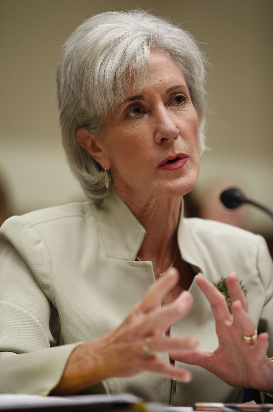 **FILE** Health and Human Services Secretary Kathleen Sebelius testifies on Capitol Hill on June 2, 2009, before the House Health subcommittee hearing on health care reform. (Associated Press)