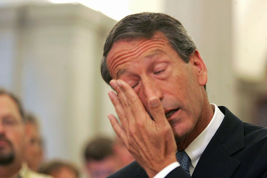 South Carolina Gov. Mark Sanford gets emotional during a news conference Wednesday, when he admitted to having a five-month affair with a longtime female friend in Argentina. (Associated Press) ** FILE **