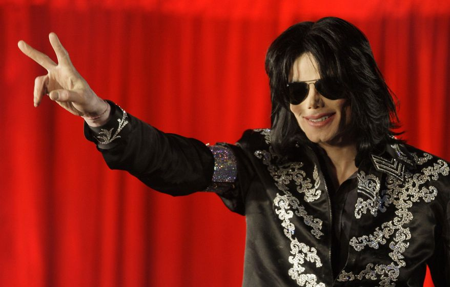 Michael Jackson announces March 5, 2009, during a press conference at the London O2 Arena that he is set to play ten live concerts at the arena in July. (Associated Press)