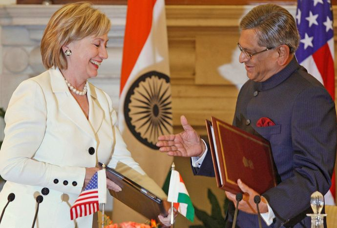 ** FILE ** Secretary of State Hillary Rodham Clinton and her Indian counterpart, External Affairs Minister S.M. Krishna, meet in New Delhi in 2009. (Ass