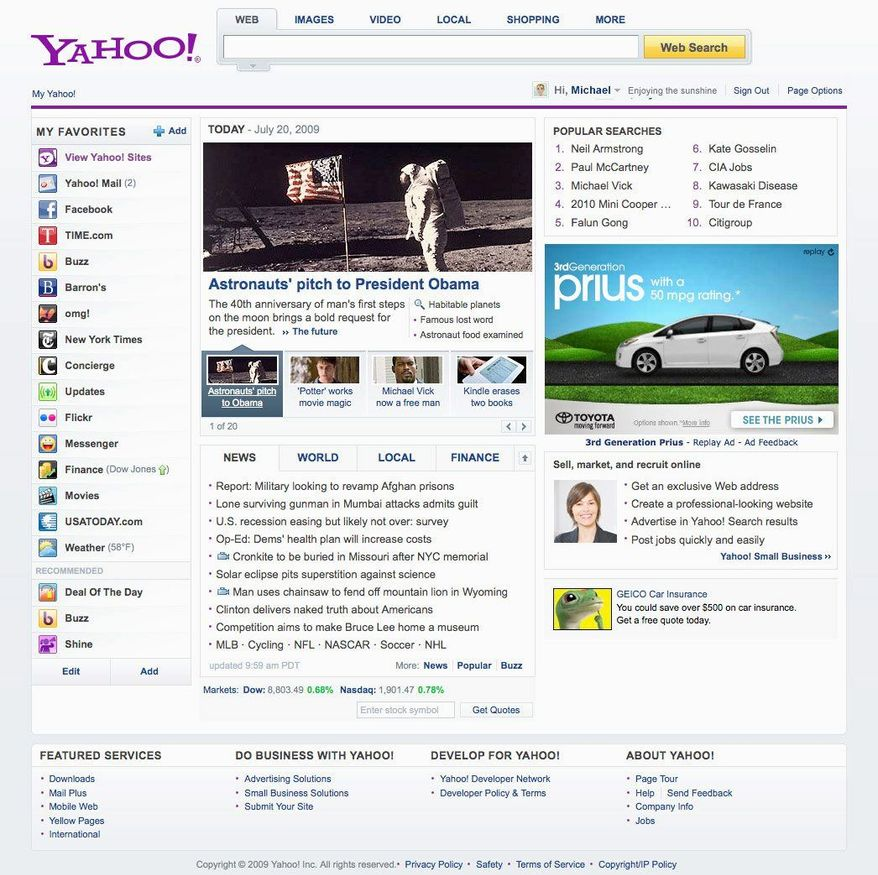 This screen shot provided by Yahoo Inc. shows the newly redesigned Yahoo site. (Associated Press)